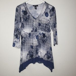 Style & Co Blue White Dotted Floral Empire Blouse